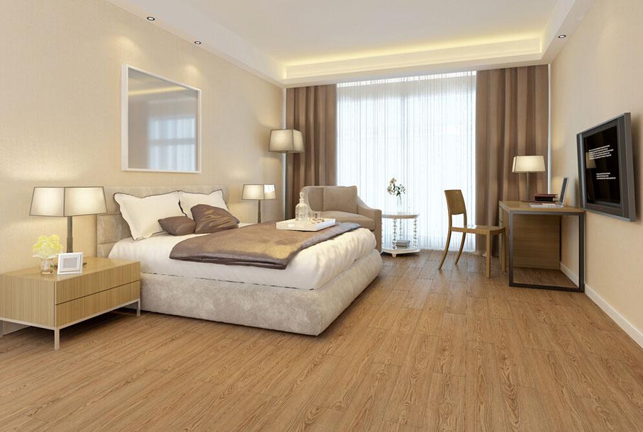 Wooden Pattern WPC LVT SPC For Hotel Bedroom 1
